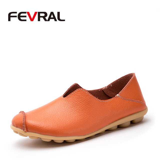 FEVRAL Spring Summer Woman Split Leather Casual Hollow Shoes Fashion Breathable Comfort Woman Moccasins Slip on Big Size 35~44