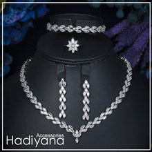 Hadiyana Brand Sparkling Luxury Cubic Zircon Crystal 4pcs set Necklace Jewellery Bridal Sets For Women Wedding Sliver CN027(China)