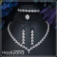 Hadiyana Brand Sparkling Luxury Cubic Zircon Crystal 4pcs set Necklace Jewellery Bridal Sets For Women Wedding Sliver CN027