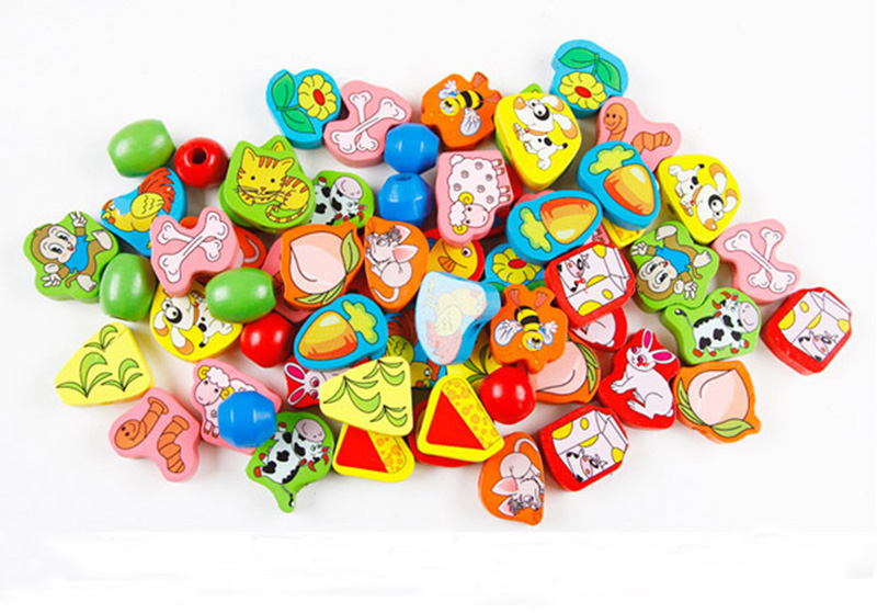 Learning Education Wooden Puzzle Toys 63 Pcs animal Fruit Beads Montessori Children's Puzzle Wooden Stringing Beads
