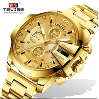 Automatic Mechanical T814b Top Brand TEVISE Watch Men Luxury Sport Military Stainless Steel Strap Wrist Watches For Business