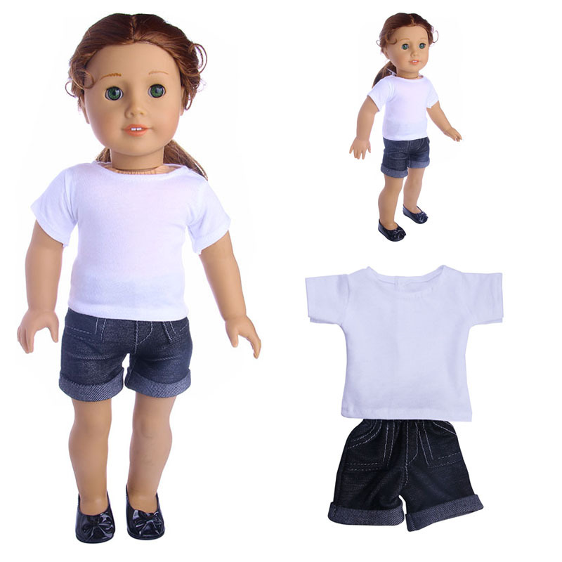 2in1 Set American Girl Doll Clothes of White T-shirt and Denim Shorts for 18 American Girl Doll & Our Generation ...