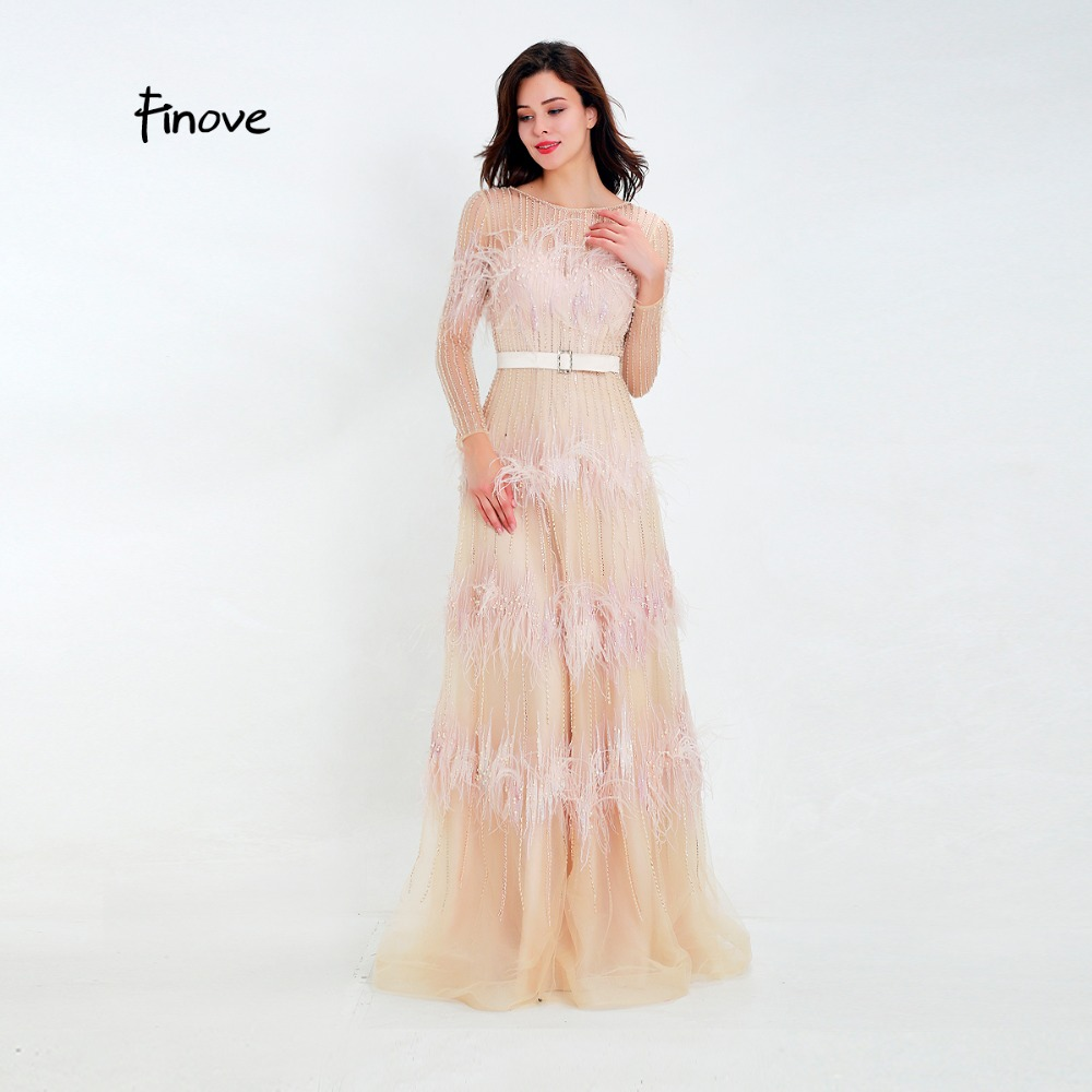 Finove Luxury Illusion Prom Dress New Design 2019 Tulle with beaded Feathers Sashes A Line Evening