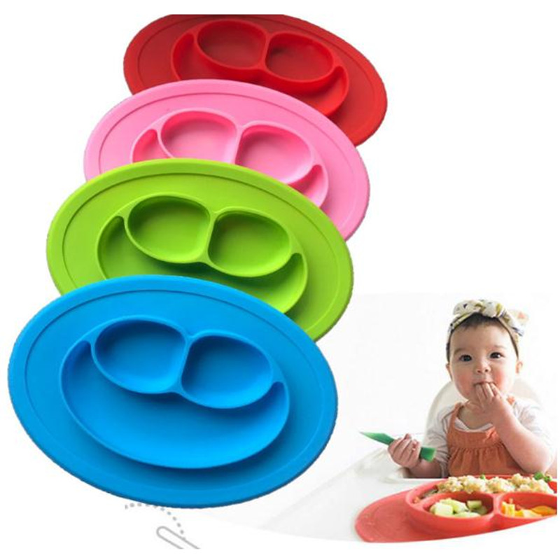 Food Grade Silicone Separated Table Plates Infant Integrated Tableware Baby Sub-dishes Plate Fruit Plate Dishes Plate Childrens Solid Feeding Dishes