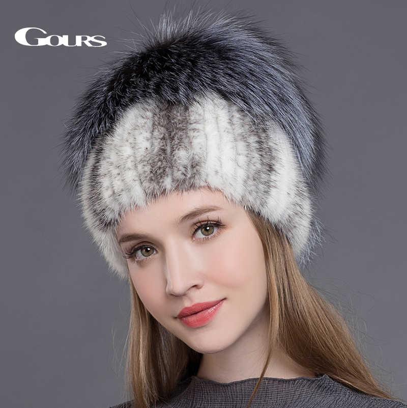 68b25eba247e8 Gours натурального меха норки Шапки для Для женщин Настоящее Silver Fox  меховые шапки русской зимы теплые