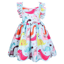 2019 Childrens Clothes Little Girl Cute Cartoon Dinosaur Print Dress Cool Summer Backless Princess