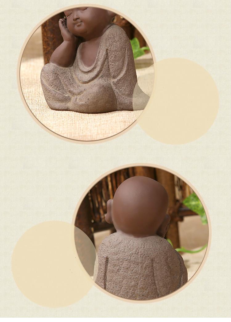 HTB1E3XHaEjrK1RkHFNRq6ySvpXao - Buddha Statues Small Monk Color Sand Ceramic Home Club Geomantic Decoration Purple  Figurine Tea Pet