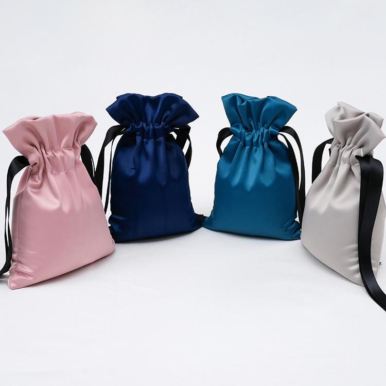 Fashion Silk Drawstring Bag Luxury Satin Wedding Candy Packaging Bag Medium Portable Cosmetic Jewelry Storage Bag Gift Pouch