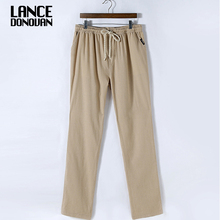 2017 New Casual Fashion Men linen pants trousers straight Plus size M-4XL