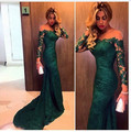 Barato Em Estoque Moda 2016 Verde Escuro Sereia Laço Vestido De Noite Mangas Compridas Mulheres Ocasião Formal Vestido