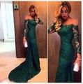 Barato En Stock Fashion 2016 Verde Oscuro de la Sirena Vestido de Noche de Encaje de Manga Larga de Las Mujeres Vestido de la Ocasión Formal