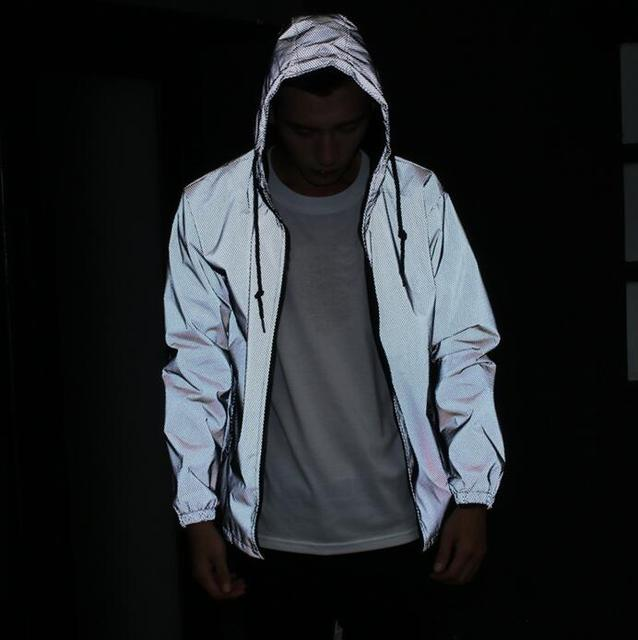 Sponge mice  Men jacket casual hiphop windbreaker 3m reflective jacket men coat hooded fluorescent clothing