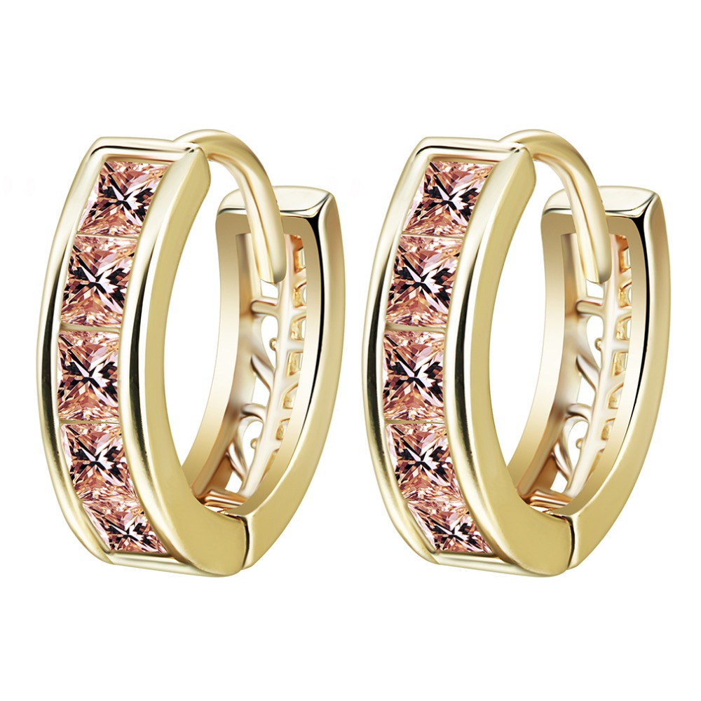 Qiming New Gold Orange Stone Crystal Round Cubic Zirconia Circle Hoop  Earring Jewelry Women Girls Wedding