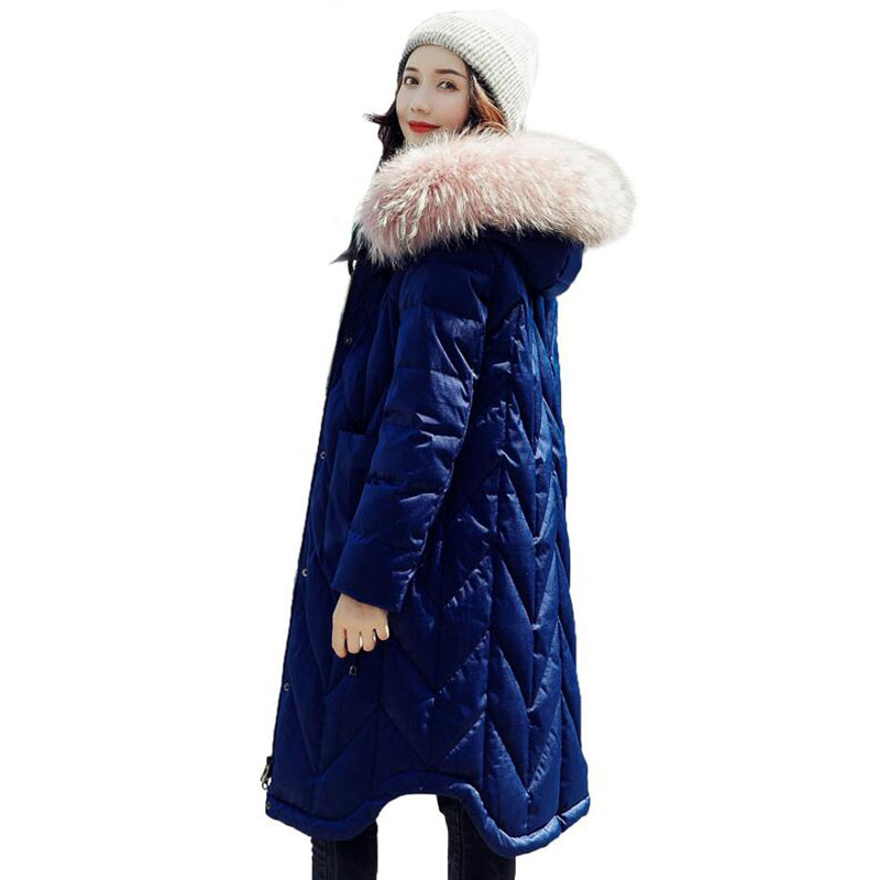 Large Real Raccoon Fur Collar   Down   Jacket 2018 Fashion Slim Winter Jacket Women White Duck   Down     Coat   Warm Hooded Long Parka