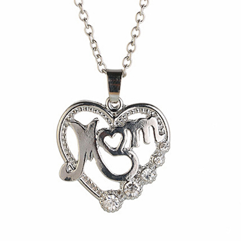 2019 Mother's Day MOM Word Engraved Heart Love Pendant Necklace Gift For Mom 14