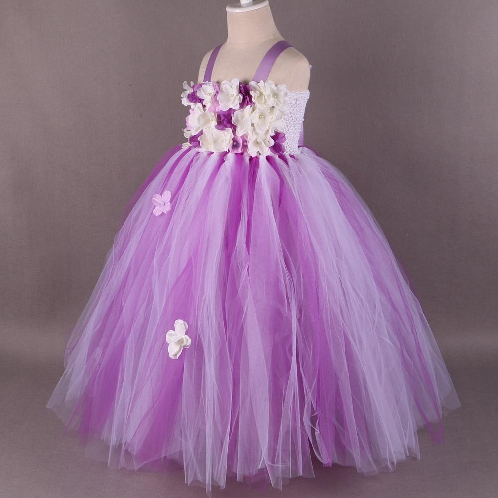 Children Girls Flower Girl Dress Purple White Princess Girl Party