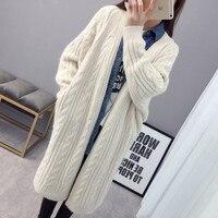 Harajuku Cardigan Women's Sweater Autumn Winter Long Cardigan Coat 2019 New Fashion Women's Clothing Twist Ladies Sweater