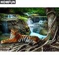 Алмазная живопись HOMFUN, полноразмерная/круглая вышивка, «Водопад», тигр, 5D стразы, A01015