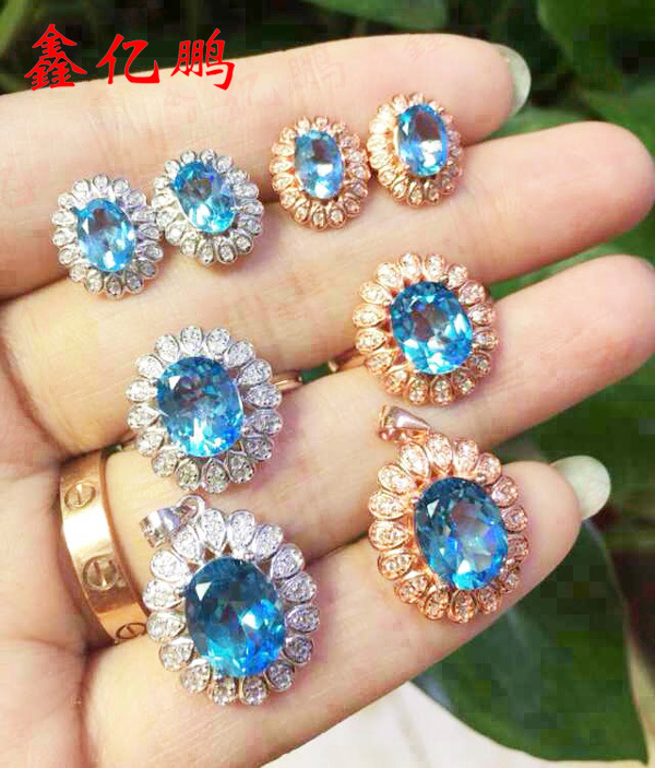 925 silver inlay natural Topaz suit
