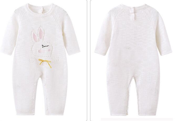 0070f7c32d57 4pcs lot baby infant rompers boys Bunny white Knitting long sleeve ...