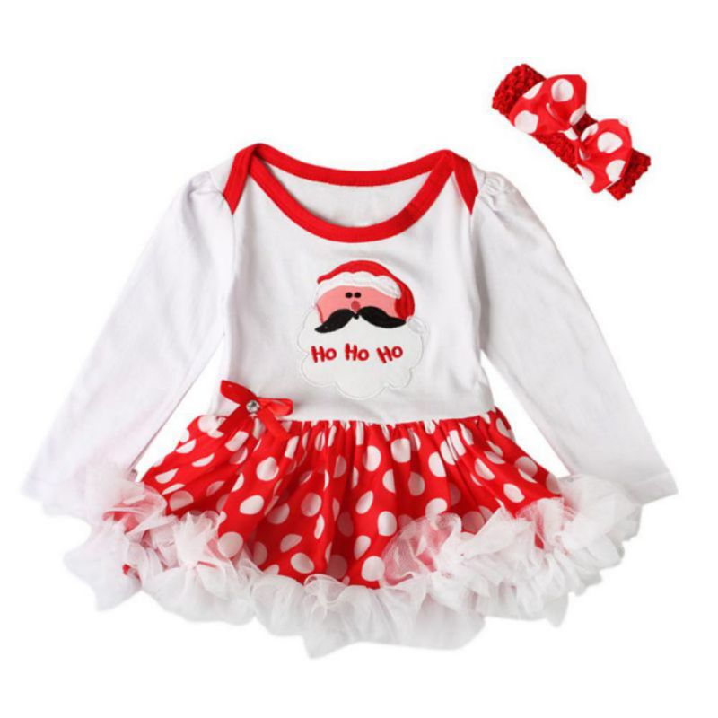 Baby Girls Outfits Newborn Infant My First Christmas Tutu Dress Up Baby Christmas Lace Dress + Hair Band Two Set pink 1st birthday outfits for girls newborn infant lace tutu dress romper set 2017 vestido infantil toddler romper dress clothes