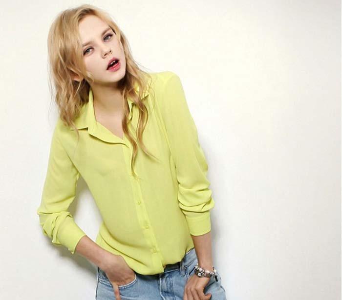 1PC Women Chiffon Blouse Long Sleeve Shirt Women Tops Office Lady Blusas Femininas Camisas Mujer Z231 7