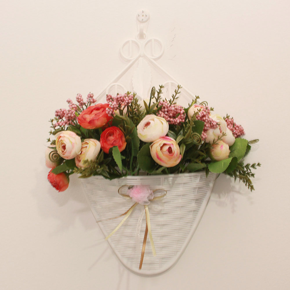 Wall vases for flowers - New Artificial Flowers Suit Flower And Vase Handing Wall Suit Small Tea Bud Home Party Garden