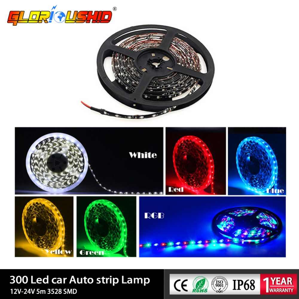 12V 24V 5 meter 3528 SMD 300 LED Car Auto Motorcycle styling Waterproof Strip Lamp Flexible LED strip Light