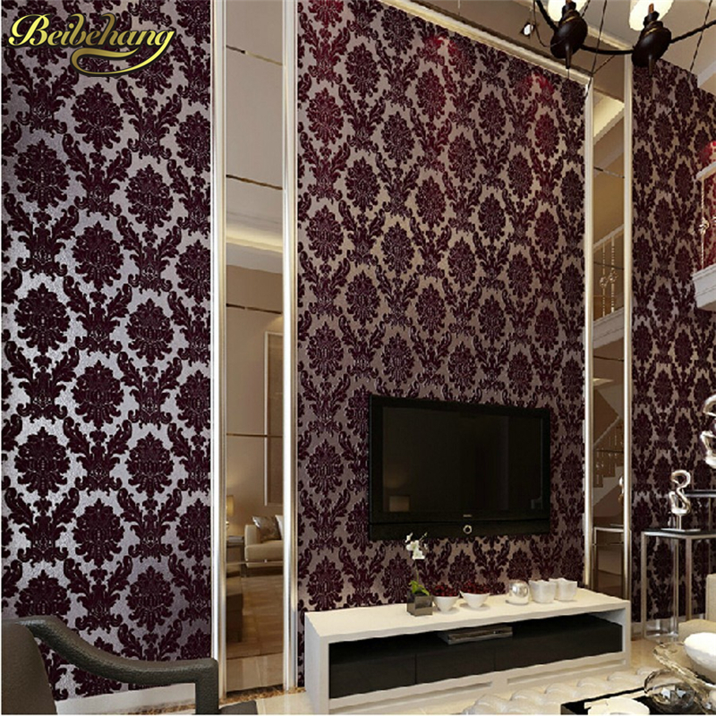 beibehang decoration Velvet floral wallpaper roll flocking flower wall paper mural wallpaper for living room papel de parede 3D