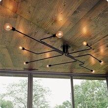 ФОТО   Vintage Ceiling Light 8 Lights Edison Bulb Ceiling Lamp Metal Black Flush Mount Light for Living Room