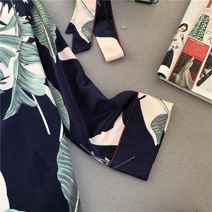Image 4 - Świeży letni nadruk moda damska piżama Rayon Sexy Pijama spodnie z długim rękawem dwa papierowe garnitury