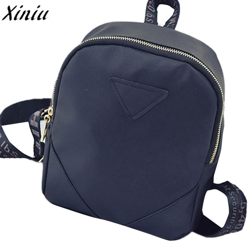 Women Backpacks Solid Color Leather Letters Printing strap Fashion Design Schoolbags Travel Bagpack Back Pack Mochila *7801