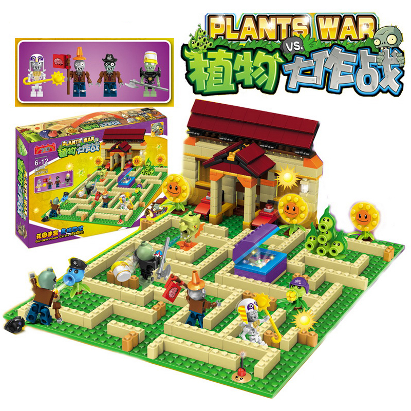 Plants vs Zombies Garden Maze Struck Game Building Blocks Bricks Set Like Lepin Figures My World Minecraft Toys For Children plants vs zombies 050302 mysterious egypt building bricks blocks anime action figures my world minecraft toys for children gifts