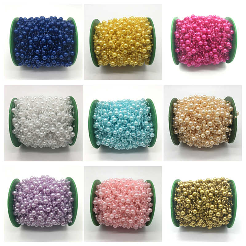 5yards Fishing Line Artificial Pearls Beads Chain Garland Flowers Wedding Party Decoration Brides Headgear 13 color U pick