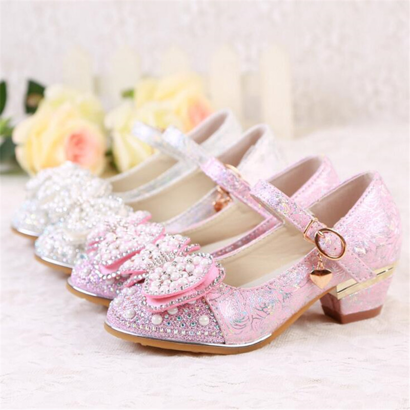 Children Rhinestone beading lace flower Shoes Girls dance Shoes high-heeled Party Princess Shoes size 27-37 white pink TX03