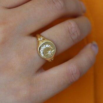 Anillo para hombre Hip hop CZ Crecent Moon, Northstar, Color dorado, joyería para dedo nueva, anillo para hombre de alta calidad Iced Out