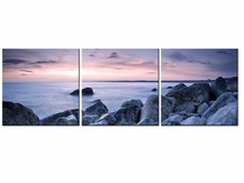 3 Piece Modern Wall Art Home Decoration Printed Oil Painting pintura oleo beautiful sunrise on the sea landscape Frame QJFJ3-55
