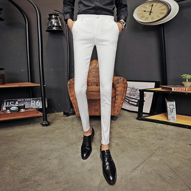 Black White Men's Trousers British Slim Fit Casual Suit Pants Men Solid Mens Skinny Pencil Pants High Quality Men Clothing