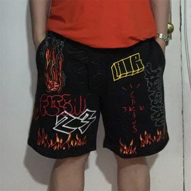 19ss Travis Scott AstroWorld Tour Graffiti Shorts Men Women 1:1 High Quality Drawstring Shorts