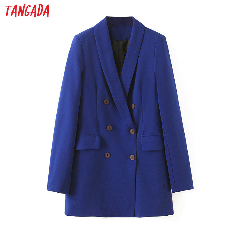 Tangada Fashion Women Business Suit Blazer Long Sleeve Double-breasted Coat Elegant Ladies Work Tops SL429