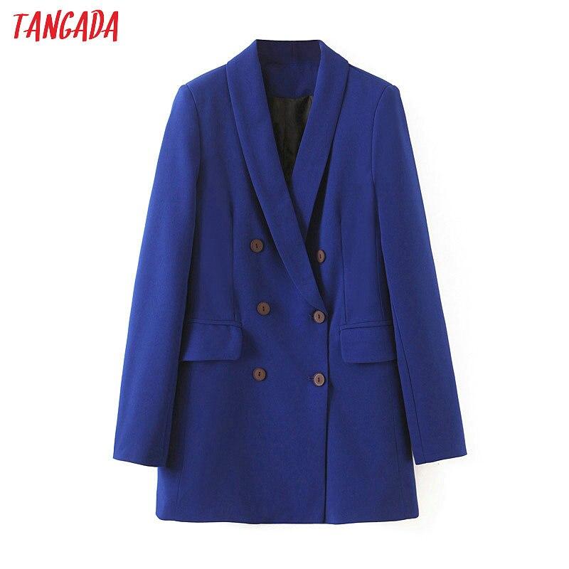 Tangada Fashion Women Business Suit Blazer Long Sleeve Double-breasted Coat Elegant Ladies Work Tops SL429