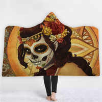 Sugar Skull Flower Hooded Blanket for Adults Kids Floral Gothic Sherpa Fleece Wearable Throw Blanket Microfiber Black Bathrobe