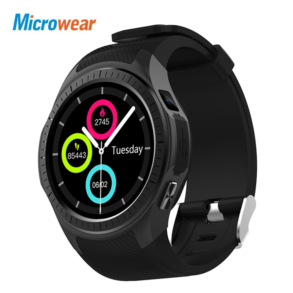 Microwear L1 Smartwatch Phone 1.3 inch Bluetooth GPS Heart Rate Measurement Pedometer Sleep Monitor Smart Watch for Android IOS