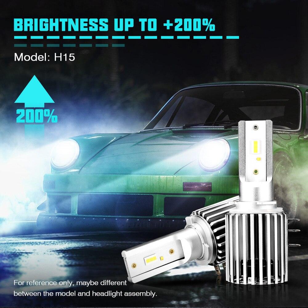 NOVSIGHT Car H15 LED Bulb Headlight 60W 10000LM Wireless Car Headlight Lamp Conversion Driving Light 6500K