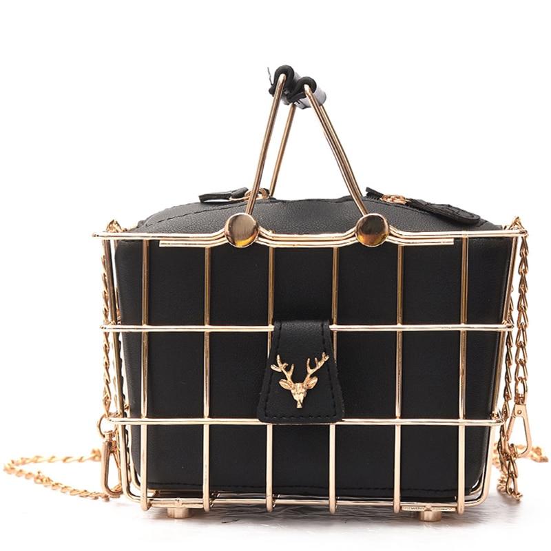 Retro Elegant Personality Luxury Handbags Women Bags Designer Deer Head Metal Basket Frame Split Leather Tote Shoulder Bags New