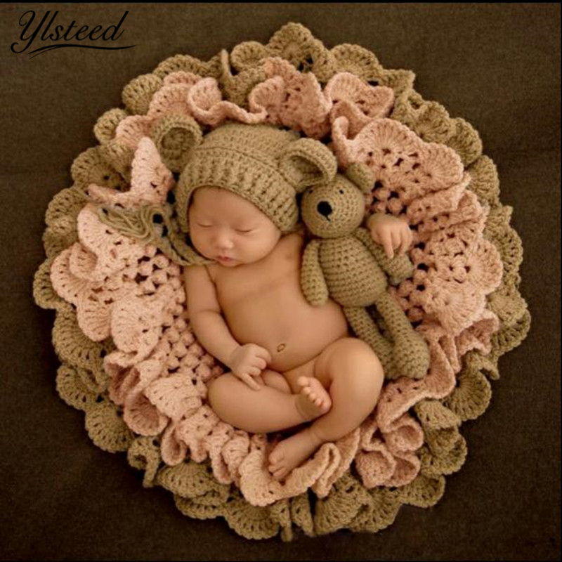 Baby Photography Blanket Crochet Blanket Hat Bear Dolls Knitted Rabbit Hats Toy Baby Photo Props Newborn Fotografia Accessories skullies beanies newborn cute winter kids baby hats knitted pom pom hat wool hemming hat drop shipping high quality s30