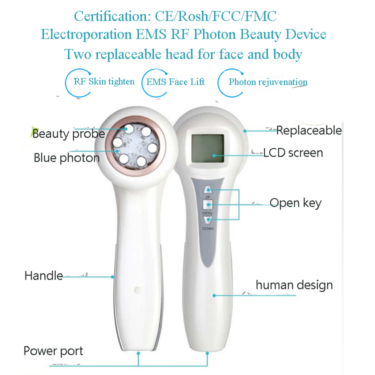 Head Replaceable Mini RF Radio Frequency Skin Tightening Face And Body Slimming Beauty Massager radio pharmaceuticals and radio opaque contrast media