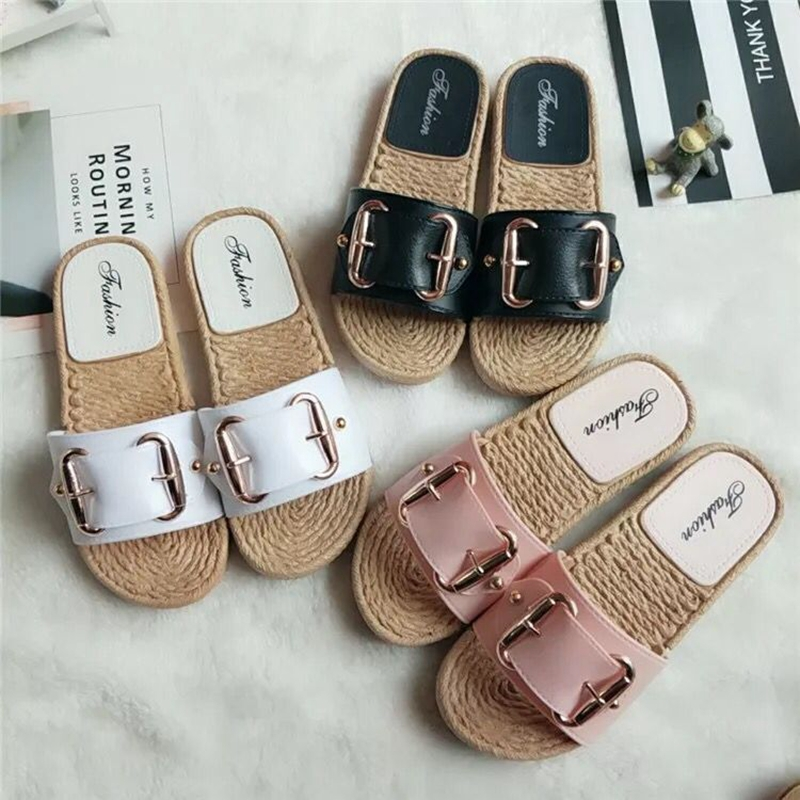 2019 new explosion leather buckle slippers female summer word drag hemp rope bottom fashion shoes. slipper