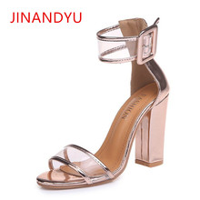 цена Women Pumps Open Toe Sexy Straps Buckle High Heels Jelly Shoes Summer Ladies Bridal Suede Chunky Heels Sandals Big Size 35-43 онлайн в 2017 году