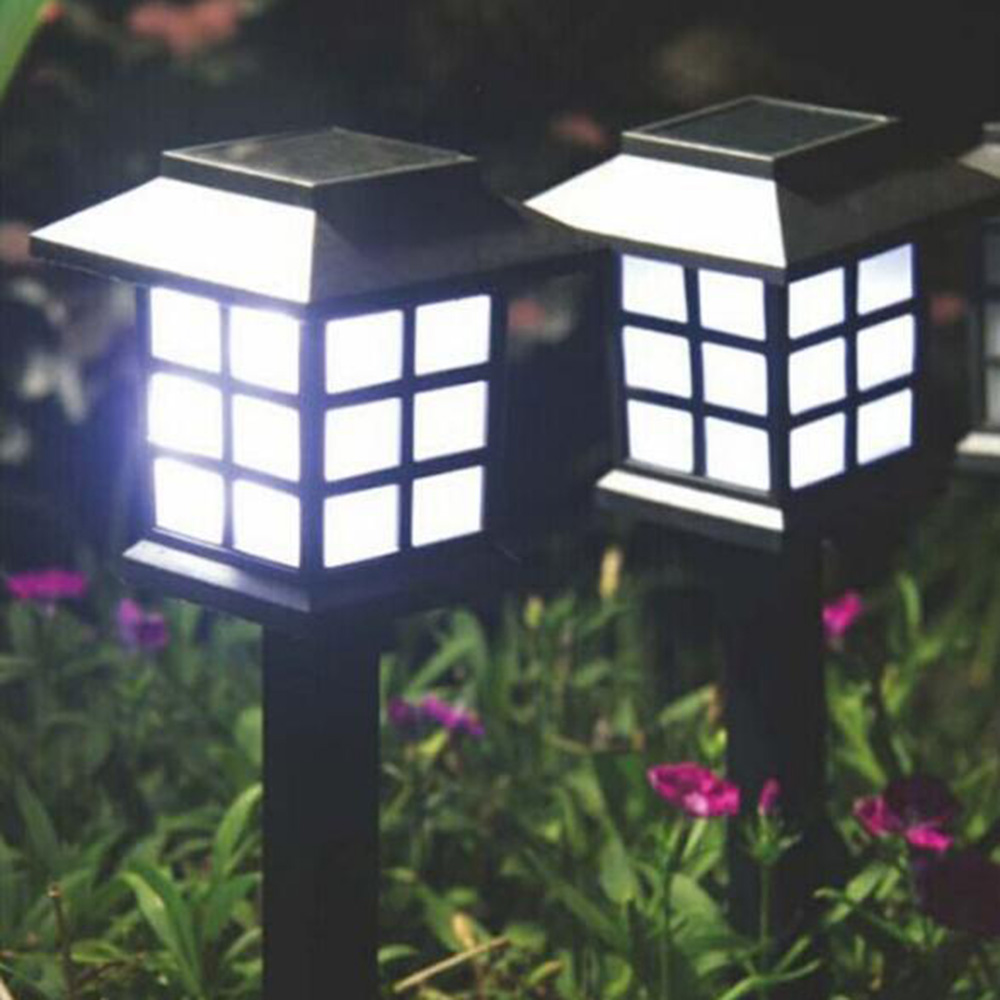 Tanbaby 4pcs Palace Lantern Solar Powered Garden Landscape Light for Gardening Pathway Decoration Light Sensor lamps